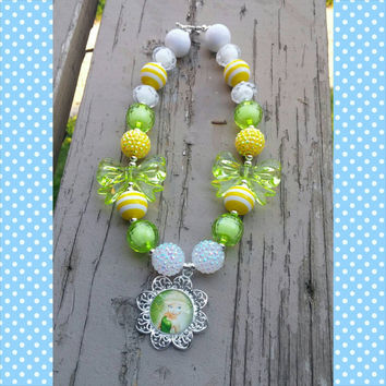 Tinkerbell Chunky Bubblegum Necklace - Fairy Necklace - Disney Necklace - Peter Pan Necklace - Toddler Necklace - Ready to ship- Photo Prop