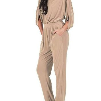 Khaki Plain Cut Out Pockets Pleated Elbow Sleeve Long Jumpsuit
