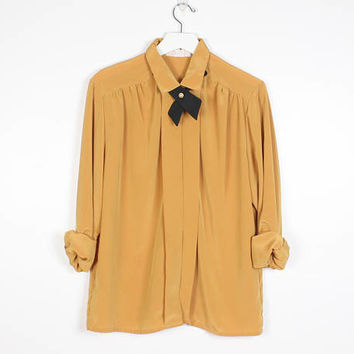 Vintage 1980s Shirt Pleated Front Black Bow Tie Mustard Gold Blouse Long Sleeve Collared Shirt Secretary Blouse 80s Preppy Ascot L Large XL