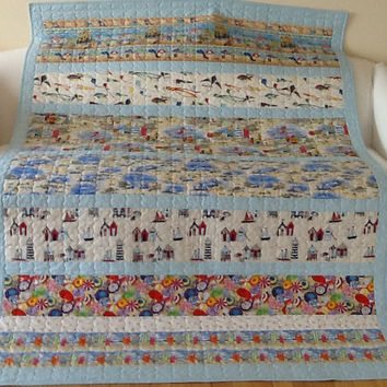 Summer Cottage Seaside Beach Hut Large Lap Quilt Handmade 56 x 76 inches Free Shipping Canada and USA
