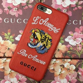Personality Fashion Gucci tiger Embroidery iPhone Phone Cover Case For iphone 6 6s 6plus 6s-plus 7 7plus