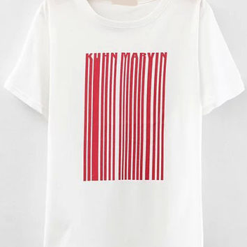 Red Barcode Print T-shirt in White