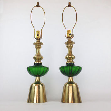 Vintage Glass Lamp Pair / Green and Gold / Hollywood Regency Decor