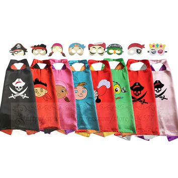 Kids Pirate Costume Capes with Masks Dress-up Halloween Birthday Party Captain Jack Pirate boy Cosplay