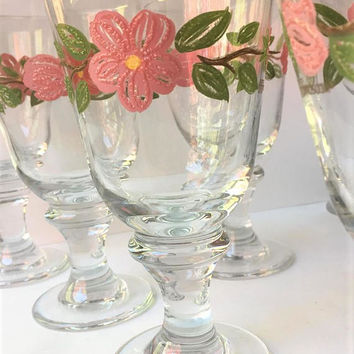 Franciscan Desert Rose Glasses, Set of 8, Rare Franciscan Glass Iced Tea Goblets, Tiffin Franciscan Iced Tea Glasses, Franciscan Glassware