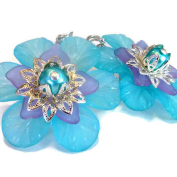 Large Flower Earrings in Turquoise Blue with Purple Lucite Petals