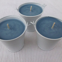 Handmade Scented Creme Candle, Stormy Night in Bucket Candle Holder
