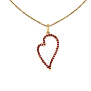 Ruby Heart Necklace 14K Yellow Gold Valentine's Gift Wedding Jewelry Women's Fine Jewelry Unique Neckalce July Birthstone -V1122