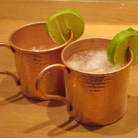 Moscow Mule Mug Set of 2 - Hammered Copper Mugs