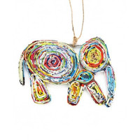 Recycled Paper Ornament- Elephant