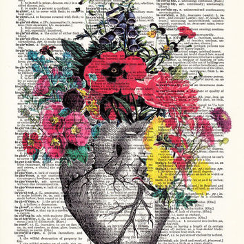 Anatomical Heart and Flowers- Human Anatomical Heart Poster-Heart and Flowers Print- Science Gift- Boyfriend Gift