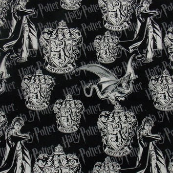 Gryffindor Harry Potter Cotton Fabric Quilting Fabric Harry Potter Crest Fabric Wizards Curtain Fabric Craft Fabric