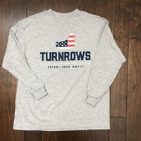 Turnrows - Youth Duck Flag LS Tee - Gray