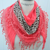 Orange Scarves lace Scarf Women Cowl Scarf Leopard Print Scarf - By PiYOYO