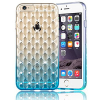 iPhone 6 Plus Case, Colorful POPO Clear Flexible TPU Gradient Ramp Rhombus Plaid Design with Bling Rhinestone Case Cover for iPhone 6 Plus& 6s Plus 5.5 inch (Blue)