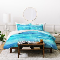 Jacqueline Maldonado Ombre Waves Blue Green Duvet Cover