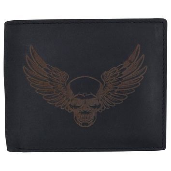 New Skull & Wings Printed Logo Mens RFID Bifold Genuine Leather Wallet
