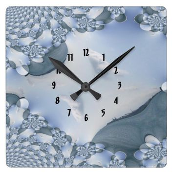 Lake Michigan Waters Fractal Square Wall Clock