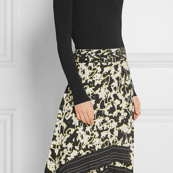 Proenza Schouler - Stretch-jersey and printed silk-georgette midi dress