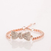Estella Bow Bracelet in Rose Gold - ShopSosie.com