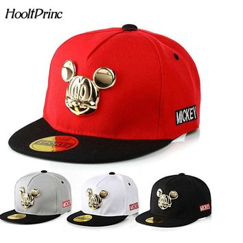 2018 Autumn Winter Gorras 100%cotton PU leather Baseball Cap Children's Baby Hip-hop hat Boys Girls Snapback Cartoon Mickey Caps
