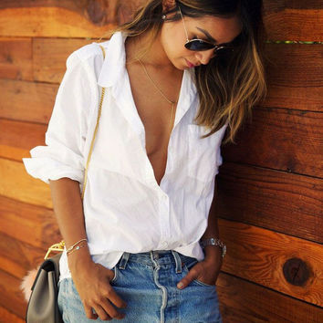 White Long-Sleeve Casual Shirt with Pocket