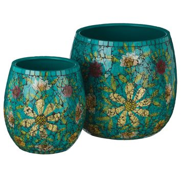 Teal Floral Handcrafted Metal and Crackled Glass Planters (Set of 2)