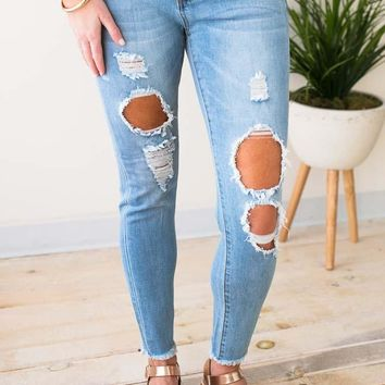 Looking for Love Light Wash Distressed Jeans