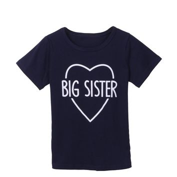 Casual Big Brother Sister Kids T-Shirt Letter Print Boy Girl Children Toddler Funny Hipster Tops Tee Short Sleeve