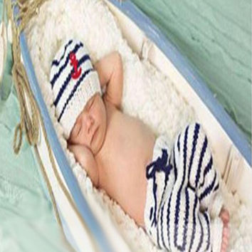 White and Blue Sailor Knit Baby Outfit Newborn Prop - CCC274