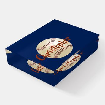 Baseball Personalized Glass Paperweight