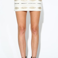 EMBELLISHED SEQUIN MINI SKIRT - IVORY