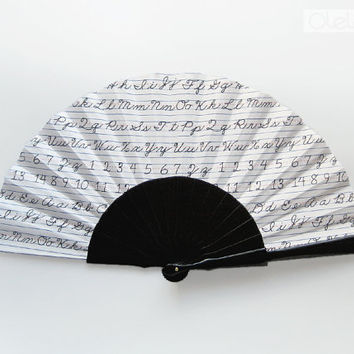 Alphabet hand fan black lacquered by Olele on Etsy