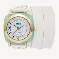 La Mer Collections' Chrysophrase Gold Acetate Stone Simple Wrap Watch