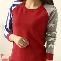 Striped and Star Pattern Long Sleeve Sweater
