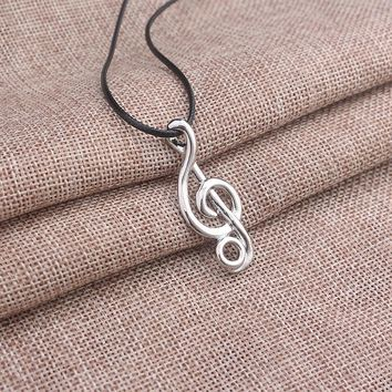 Black Rope Chain Music Note Necklace Collares Silver Plated Musical Symbol Pendant Necklace Music Jewelry