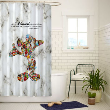 Walt Disney Dreams Quote Mickey Mouse Best Quality Shower Curtain 60x72 Inch