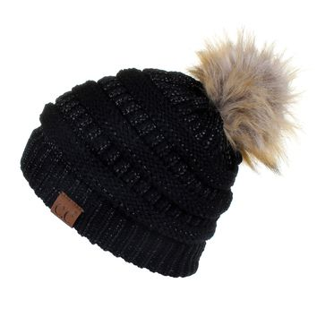 Hatsandscarf CC Exclusives Unisex Solid Ribbed Beanie With Pom (HAT-43) (Black Metallic)