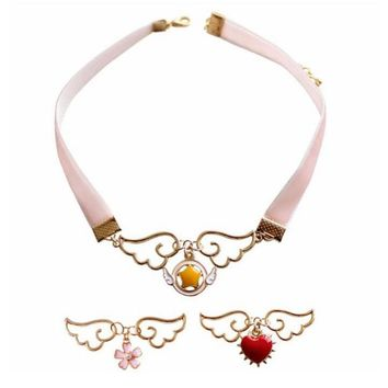 Metal Enamel Angel Wing Star Heart Card Captor Sakura Necklace