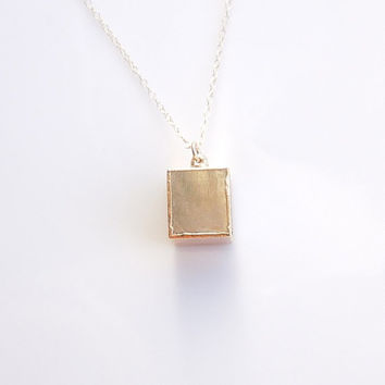 Pyrite Cube Geometric Necklace in Gold - Fools Gold Jewelry