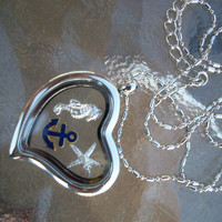 Locket Charm Necklace Anchor Starfish SeaHorse Birthstone