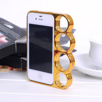 Fashion Four Ring Finger Tiger Border Case for iphone 4/4s/5  for big sale!