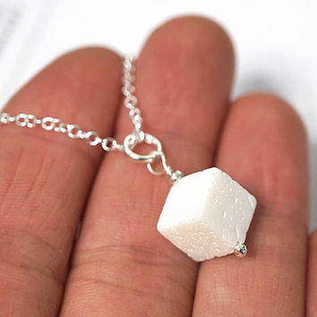 Summer Outdoors Summer Party Sugarcube Pendant Sugar Cube Necklace Real White Coral Charm Necklace Sterling Silver Chain Simple Necklace