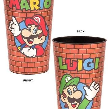 32oz Nintendo OFFICIAL Super Mario Bros. SNES CLASSIC RETRO Mario & Luigi Stadium Cup GIFT with Brick Design
