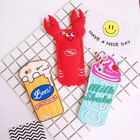 For iPhone 6 6s 6/6s Plus New Arrival 3D Soft Silicone Back Cover 3D Beer Stoup Fashion Milk Shake Lobster Pattern Phone Case