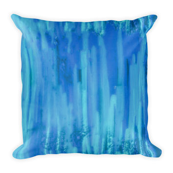 Watercolor Blue Decorative Throw Pillow 18x18