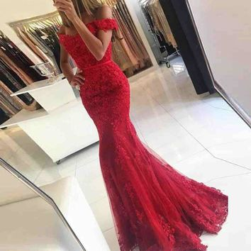 Lace Applique Red Mermaid Evening Dresses Custom made Court Train Sleeveless Beads Formal Emerald Green Party Evening Dress