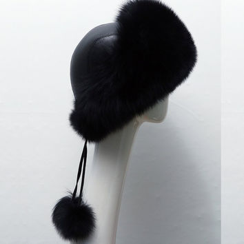 est Women's Raccoon Fur Hat Leather  Fur Hats Lady Warm Charm Beanies Caps Headgear Fox Fur Ball SM6