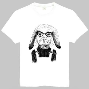 Unisex Animal Rabbit Print T-shirt White Funny Rabbit With Glasses Printing Top Tees T Shirt For Men Women