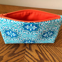 Zipper pouch, Makeup bag, Cosmetic bag, Blue Makeup bag